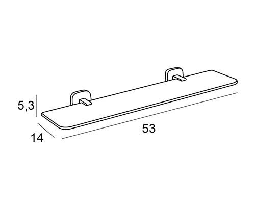 repisa baño cristal cromo 1509 medidas