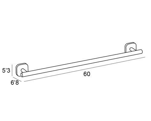 toallero barra pared cromado 1501 medidas