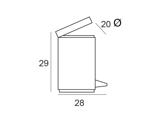cubo pedal inox 2568 medidas