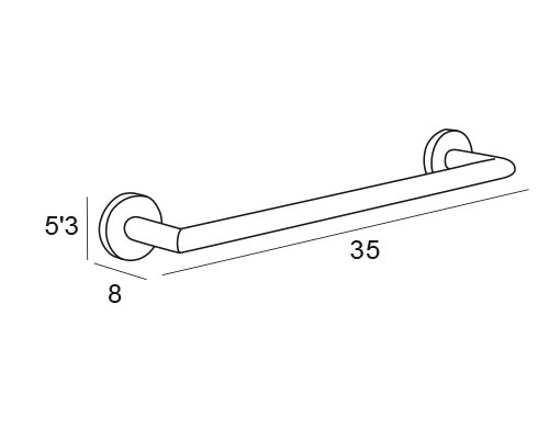 toallero barra inox 6518 medidas