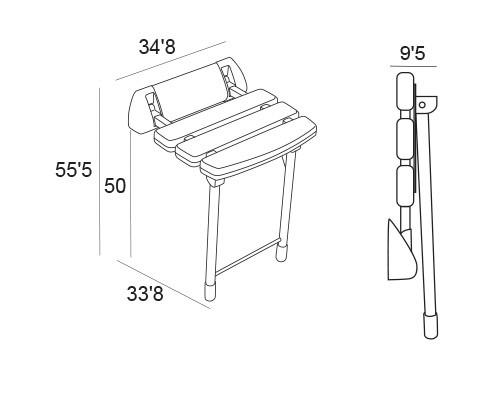 asiento ducha abatible con patas 6341 medidas
